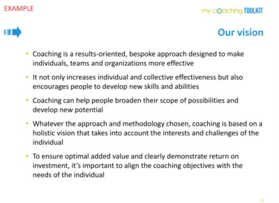 MyCoachingToolkit - Template example - Our Vision